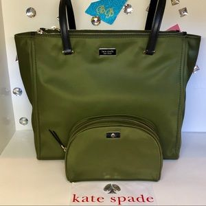 KATE♠️SPADE DAWN TOTE + COSMETIC CASE NYLON GREEN